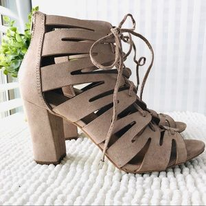 Madden Girl lace up suede booties banner size 6.5